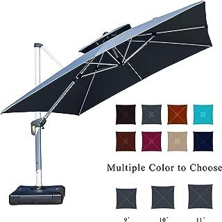 PURPLE LEAF 10 Feet Double Top Deluxe Square Patio Umbrella Offset Hanging Umbrella Cantilever Umbrella Outdoor Market Umbrella Garden Umbrella, Grey