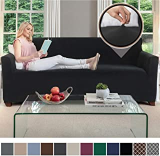 Gorilla Grip Original Fitted Velvet 1 Piece Large Sofa Protector for Seat Width to 70 Inch, Stretch Furniture Slipcover, Fastener Straps, Spandex Couch Slip Cover Throw for Pets, Dogs, Sofa, Black