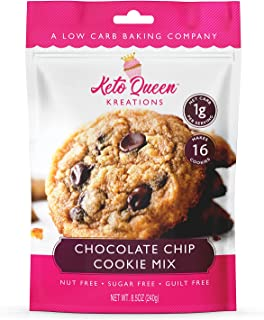 Keto Queen Kreations Chocolate Chip Cookie Mix - Low Carb (2g Net), Nut-Free, Grain-Free, Sugar-Free - 8.5 oz (16 Servings)