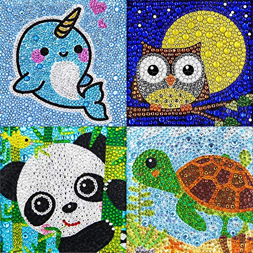 Yisong 4 Packs 5D Diamond Painting Kit for Kids Diamond Painting Full Drill Painting by Number Kits Kids Diamond Arts and Crafts for Home Wall Decor (Turtle Panda Whale Owl)