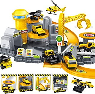 yeesport 24PCS Car Parking Garage Toy Set DIY Parking Car Toy Assembly Toy Educational Toy for Kids