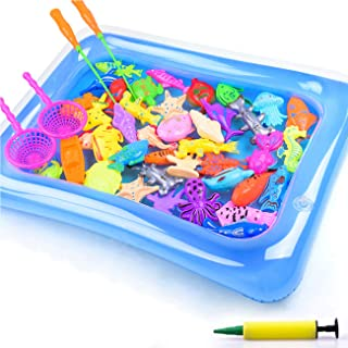 DC-BEAUTIFUL 32 Pcs Fishing Bath Toy Set, Magnetic Fishing Game Toy with Inflator Pond Net Fishing Rod, Funny Educational ...
