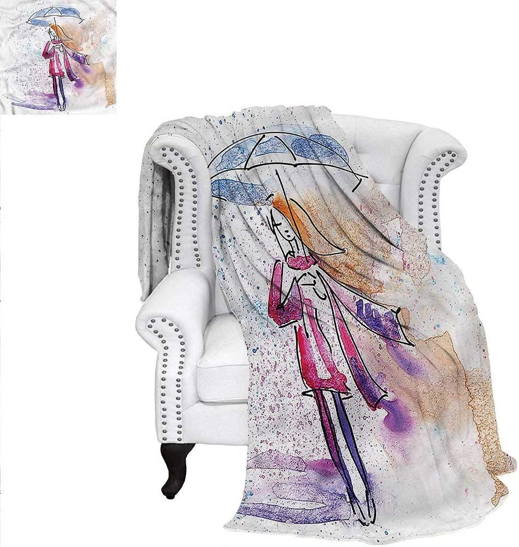 RenteriaDecor Watercolor Warm Microfiber All Season Blanket Doodle Young Girl Rainy Print Image Blanket 60 x36