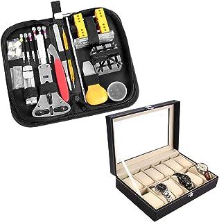 Ohuhu 174 PCS Watch Repair Tool Kit + 12 Slot Watch Case Watch Organizer PU Leather