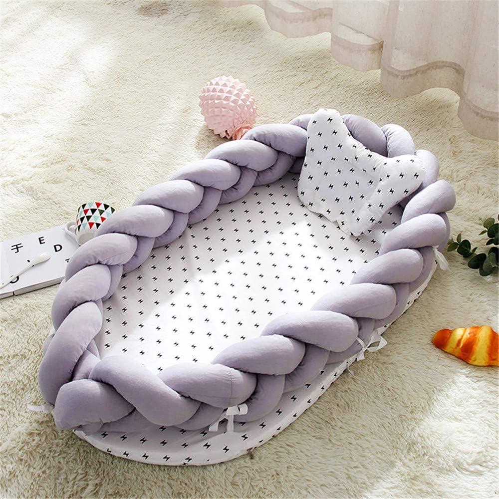 CULASIGN Tour de lit pour bébé 90 x 50 cm Lilas Gris