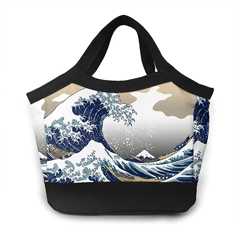 Lunch Box Japanese Painting Art Nautical Boats Great Wave Off Kanagawa Mom Bag Organizer For Women Men Teens Office School Work Lunch Organizer Premium Handbag Portable Leakproof Snacks Organizer