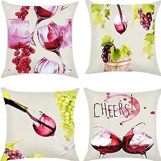 Unibedding Wine Fruit Goblets Throw Pillows Covers 18x18 Cotton Linen Artwork Wine Barrel Bar Pillows Restaurant Bedroom D...