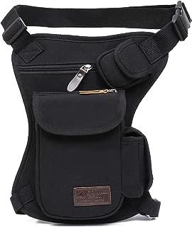 Tactical Hip Bag by Gorilla Gear – Men's Multipurpose Drop Leg Fanny Pack – Motorcycle Pouch – Sturdy Design – Multiple Practical Pockets – Adjustable Waist and Leg Strap - Black