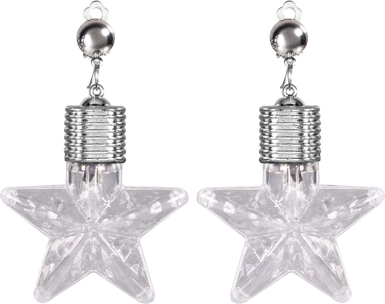 LED Light Up Jumbo White Star Clip On Earrings (1 Pair)