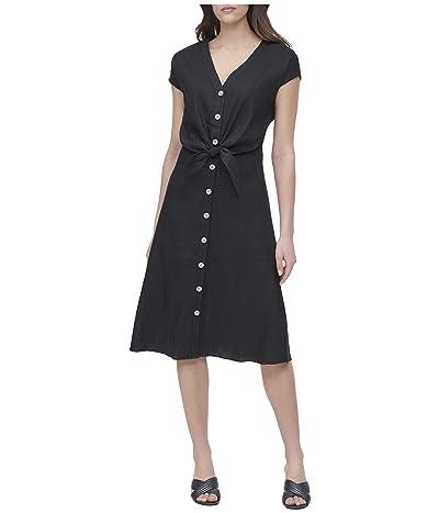 Calvin Klein Short Sleeve V-Neck Dress w/ Tie