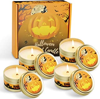 LA BELLEFÉE Halloween Scented Candles Pumpkin Soy Wax Candles Aromatherapy Candles 4 x 2.5 oz Gift Set for Halloween Night...