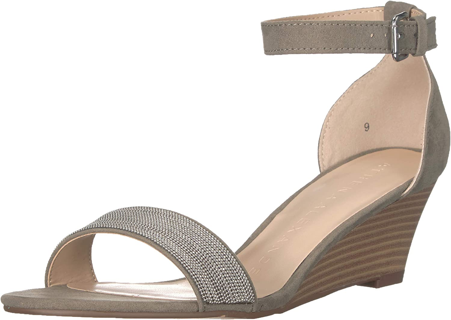 Athena Alexander Women's Enfield Wedge Sandal, Grey Suede, 8.5 M US
