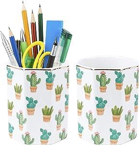 Suwimut 2 Pack Cactus Pen Holder, Cute Pencil Cup Holder Stand Desk Decor for Girls Women Kids, Durable Ceramic Desk Organizer Makeup Brush Holder Gift for Home, Office, Classroom