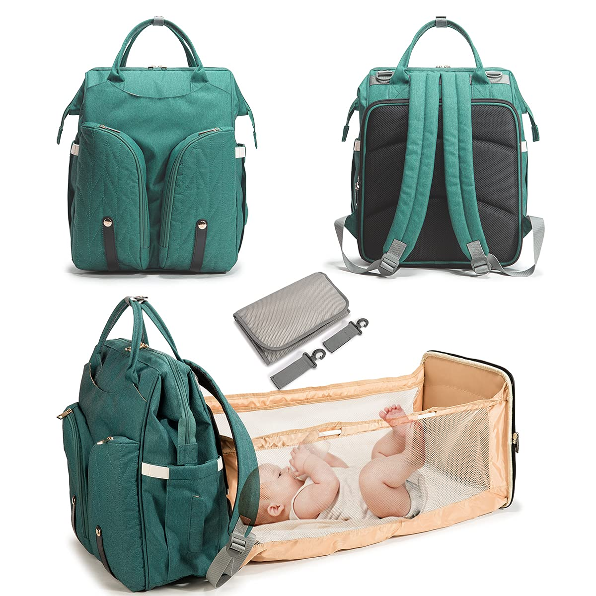 SEMSOIIO Extra Large 3 in 1 Backpack Foldable Diaper Changing Bag, Diaper Bag Backpack with Changing Mat Green