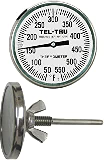 Tel-Tru BQ225 Barbecue Pit Thermometer, 2 inch dial and 2-1/2 inch stem, 50/550 F