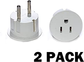 OREI American USA To European Schuko Germany Plug Adapters CE Certified Heavy Duty - 2 Pack