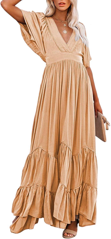 AOHITE Women's Sexy V Neck Boho Beach Maxi Dress Ruffle Short Sleeve Flowy Plain Party Long Dresses