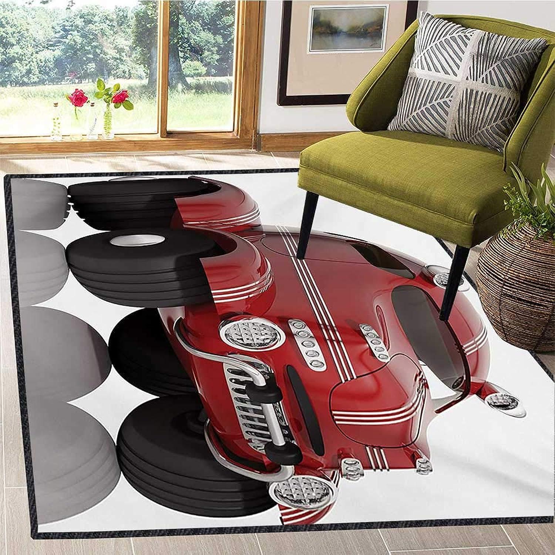 車 エリアラグ 滑り止め 3Dスタイル 車 子供 交通技術 プロトタイプ車 子供 子供部屋 ラグ フロアカーペット 4x5フィート 乾燥 ローズチャコールグレー ホワイト