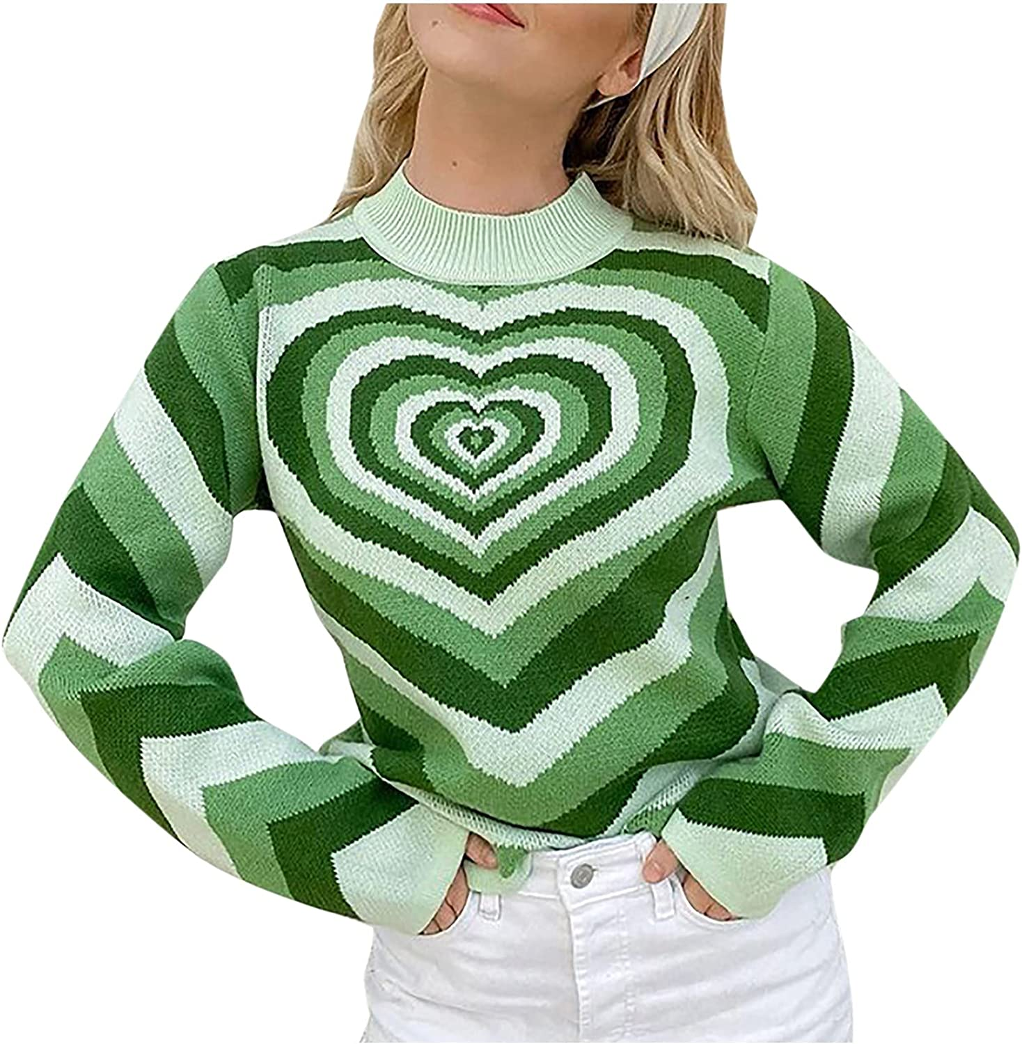 Sweaters for Women,Womens Tops Comfy O-Neck Winter Casual Long-Sleeve Sexy Red Heart Printed Pullover Ladies Knitted Blouse