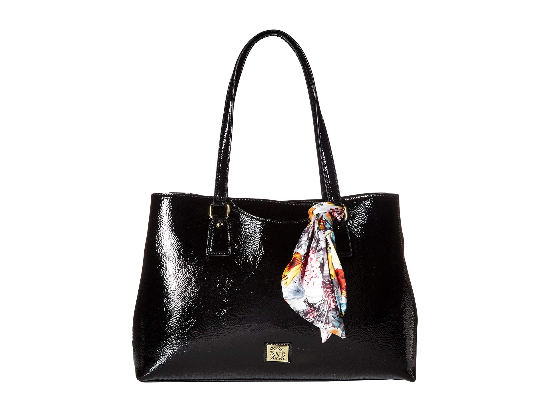 Floral Scarf W Tote Klein Anne Black Crinkle WwZnqFUxaH