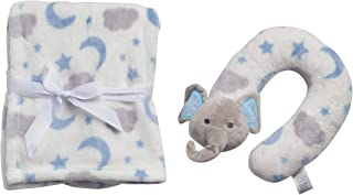 Duck Duck Goose Baby 2-Piece Flannel Fleece Character Neck Pillow with Matching Blanket Set, Blue Elephant, Size 30
