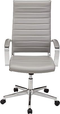 AmazonBasics - Sedia da ufficio con schienale alto e rotelle, in poliuretano Puresoft a costine, grigio