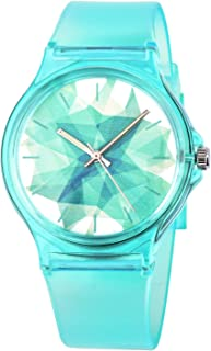 Kids Watch Teen Girls Student Children Young Girls Ages 11-15 7-10 Watch with Silicon Soft Band Turquoise/White