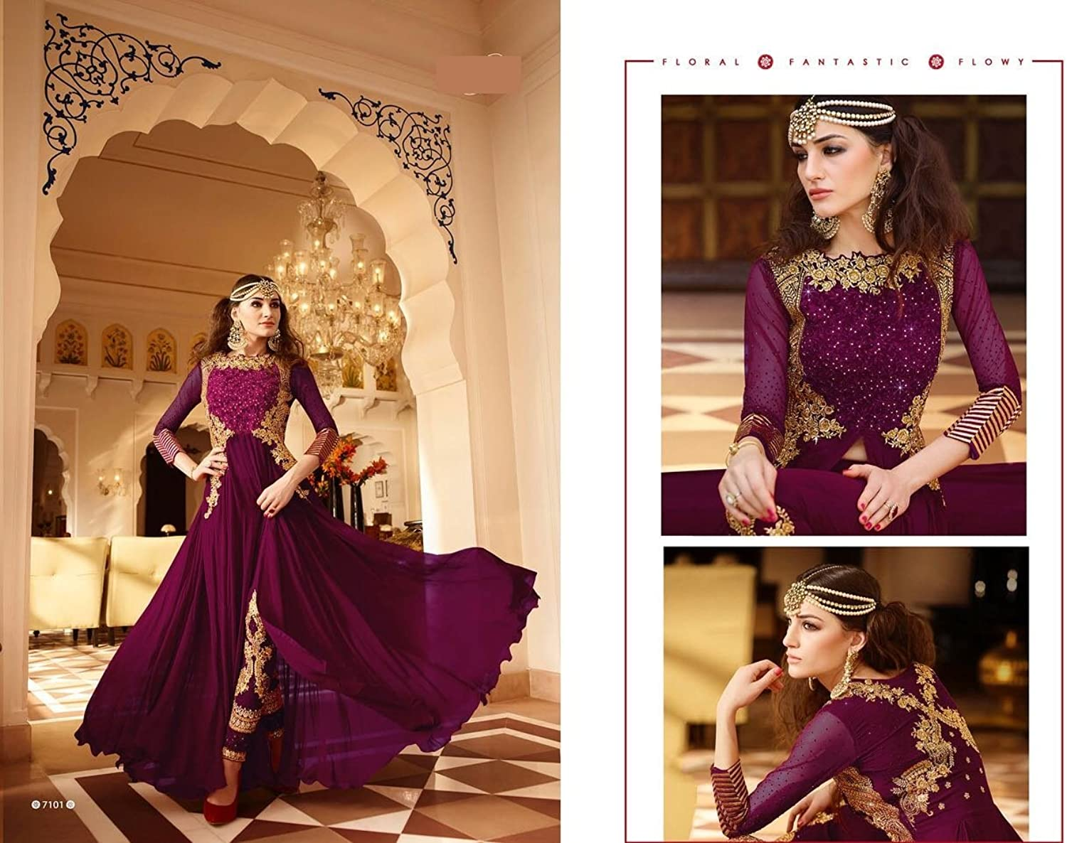 DARK PURPLE NEW LUNCHED ANARKALI SALWAR SUIT ORIGINAL FESTIVAL SHRI BALAJI 8129
