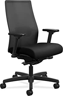HON Ignition 2.0 Mid-Back Adjustable Lumbar Work Chair - Black Mesh Computer Chair for Office Desk, Black Fabric (HONI2M2A...