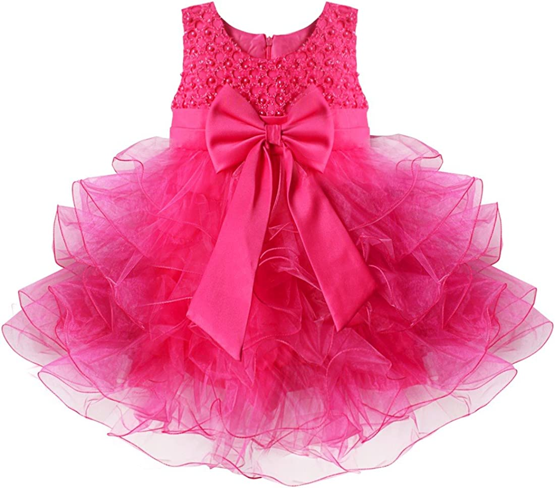iEFiEL Baby Princess Bowknot Communion Baptism Easter Wedding Pageant Party Flower Girl Dress