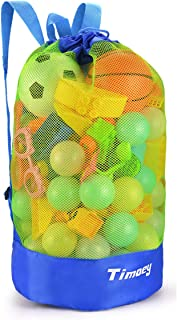 Timoey Large Mesh Beach Bag, Durable Double Shoulder Strap Bag, Tote Sand Away Drawstring Beach Backpack Swim and Child Toys Balls Storage Bags Packs, Keep Dry, Toy Not Include