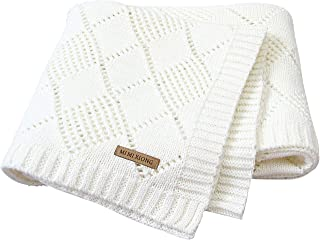 mimixiong Baby Blanket Knitted Cellular Blanket Nursery Swaddling Baby Blankets for Boy and Girls Size 40x30 Inch Ivory