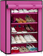 Pindia Fancy Fabric Shoe Rack Organizer, 5 Layers, Pink