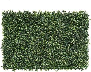 لوحات نباتية خضراء واقعية سياج سياج سياج صناعي الخصوصية شاشة العشب (23.62 × 15.75 بوصة) للديكور المنزلي الخارجي جدار الأرض...