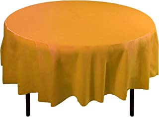 6-Pack Premium Plastic Tablecloth 84in. Round Plastic Table cover - Yellow