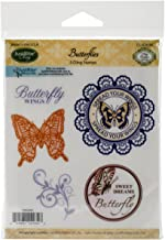 Justrite Mini Cling Stamp Set, 3.5-Inch x 4-Inch, Butterflies