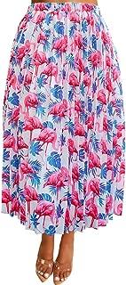 Women's Sexy Summer High Waist Chiffon Printed Colorful Midi Skirt