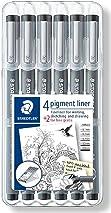 Staedtler 308 SB6P Pigment Liner Fineliner Technical Drawing Pens Assorted Line Width - Set of 6