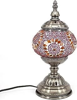 Kindgoo Turkish Lamp Mosaic Table Lamp Handmade Multicolored Glass Shade Led Bulb Included (Red)