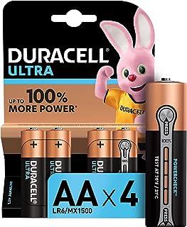 Duracell Ultra AA con Powerchek, Pilas Alcalinas, Paquete de 4, 1.5 Voltios LR06 MX1500