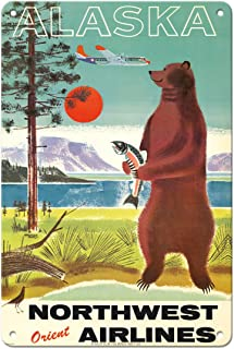 Pacifica Island Art Alaska - Northwest Orient Airlines - Kodiak Alaskan Brown Grizzly Bear - Vintage Airline Travel Poster...