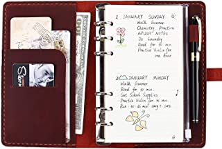 Genuine Leather Journal Writing Notebook, A6 Ring Binder Refillable Diary Notepads, Vintage Handmade Travel Organizer Agenda for Men Women – Wine