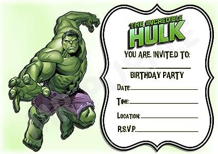Cartes invitation anniversaire  Hulk  par  6 ou 12