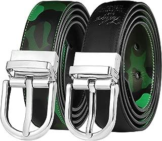 Falari Women Reversible Belt Genuine Leather Fashion Dress Belt With Single Prong Buckle 6027