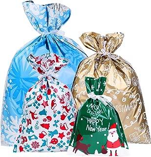 Amosfun Christmas Goody Bags Holiday Treats Bags Christmas Party Favor Bags with Ribbon Ties 30pcs (4 Sizes)
