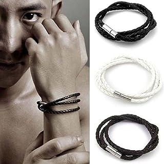 Ikevan Newest Men Leather Bracelets Metal Buckle Charm Bangle Handmade Hand Strap Round Rope (White)