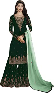 Comet Enterprise Women's Faux Georgette Sharara Salwar Suit (FN 22427; Green; Free SIze)