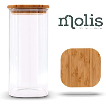 Details zu 4er Set Vorratsgläser Glasbehälter Vorratsdose Bambus Deckel Glas Vorratsbehälte