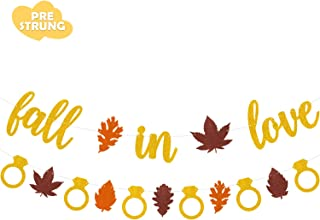 Joymee Fall in Love Banner Autumn Maple Leaves Garland for Fall Themed Wedding Engagement Bachelorette Bridal Shower Bride to be Valentines Thanksgiving Day Party Supplies Gold Glitter Decorations