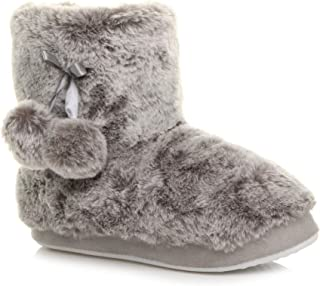 Ajvani Women's Pom Pom Fur Lined Knitted Ankle Boots Slippers Size